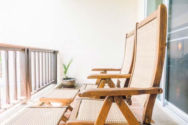 folding wooden chair tiny balcony