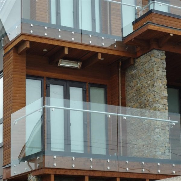 Stainless steel and glass balcony railing