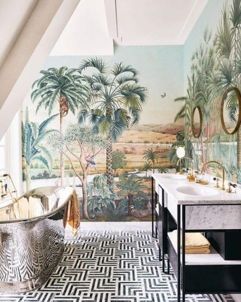bathroom unique materials copper bathtub wall patterns