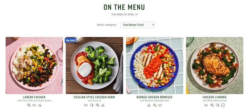 freshly meal menu example