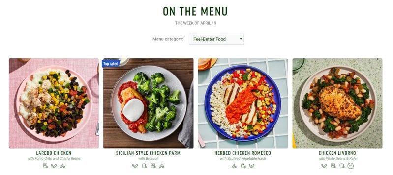 freshly meal menu example