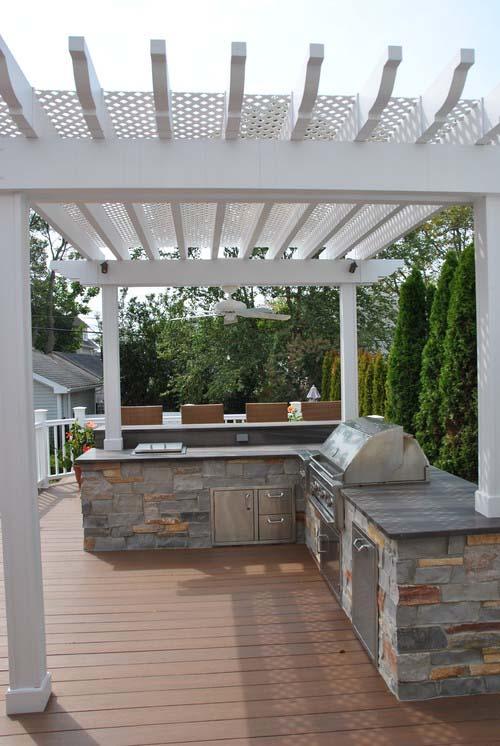 white patio and stone kitchen