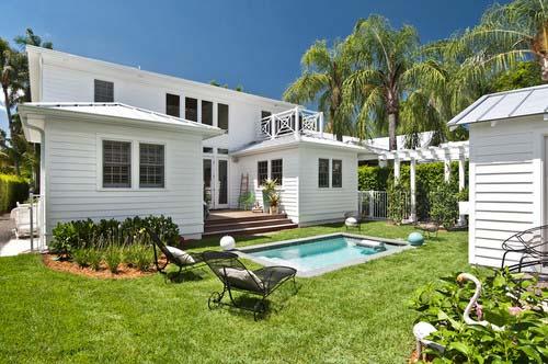 white beach house pool